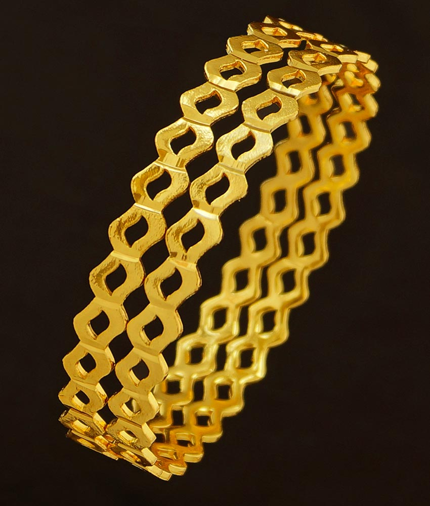BNG204 - 2.8 Size New Design One Gram Gold Bangles Neli Valayal South Indian Guarantee Bangle Online