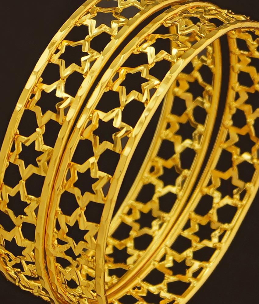 BNG207 - 2.6 Size New Arrival Light Weight Star Design One Gram Gold Bangles Buy Online
