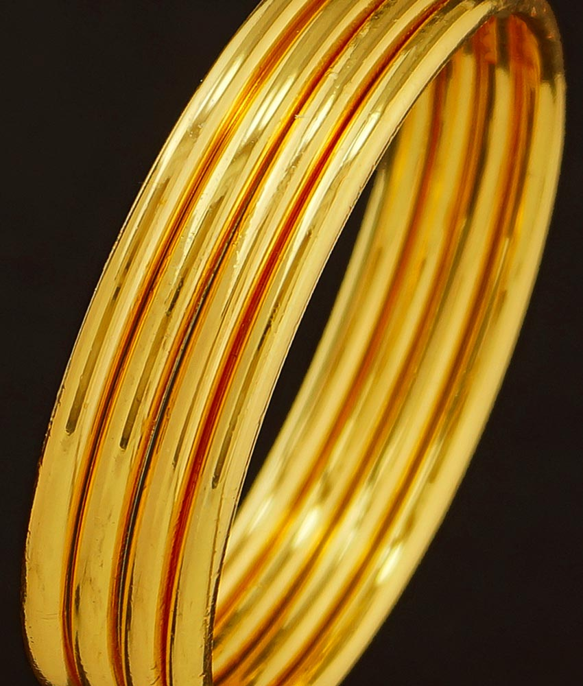 BNG209 - 2.8 Size Real Gold Design Heavy Plain Bangles Guarantee Bangles Design Set Of 4 Pcs for Daily Use