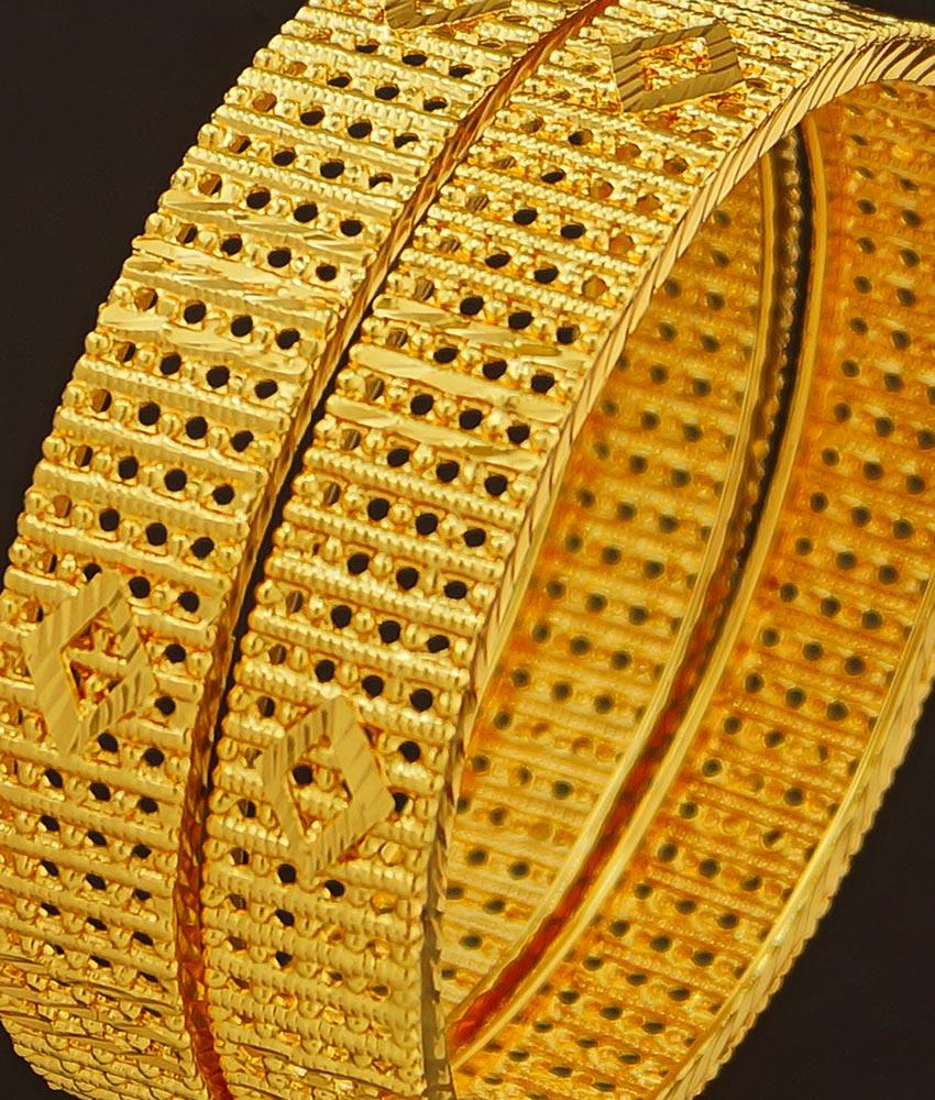 BNG210 - 2.4 Size New Style Gold Plated Bridal Wear Designer Broad Bangles Set Online