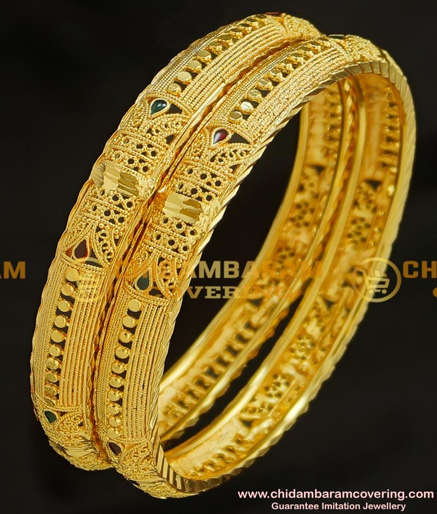 BNG216 - 2.8 Size Wedding Bangle Gold Design Enamel Coating Bangles Imitation Jewelry