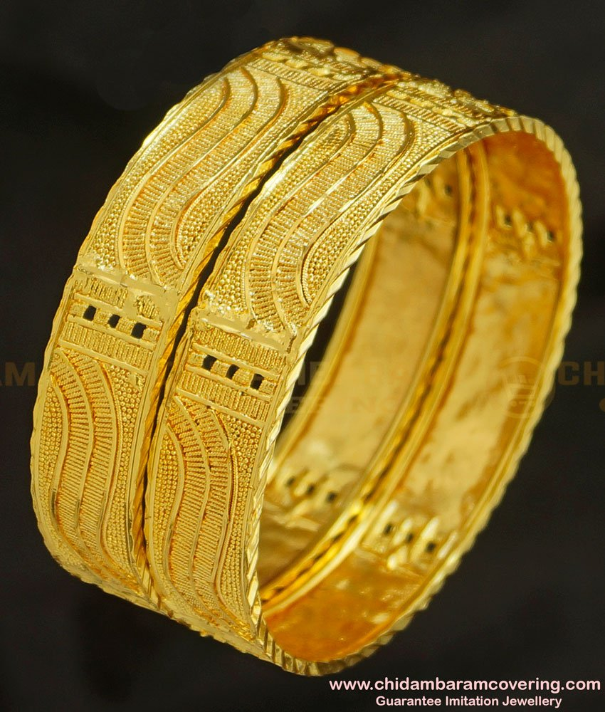BNG219 - 2.4 Size Indian Bridal Gold Look Broad Plain Bangles Design Gold Plated Jewellery