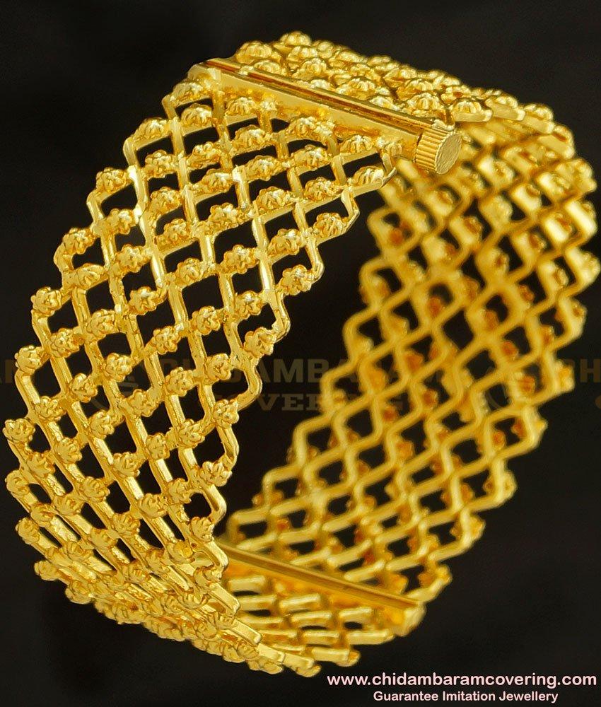 BNG220 - 2.8 Size One Gram Gold Screw Type Gold Inspired Zig Zag Design Single Kada Bangle