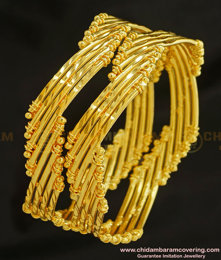 BNG222 - 2.4 Size New Pattern Curvy Shape Designer Guarantee Bangles for Wedding