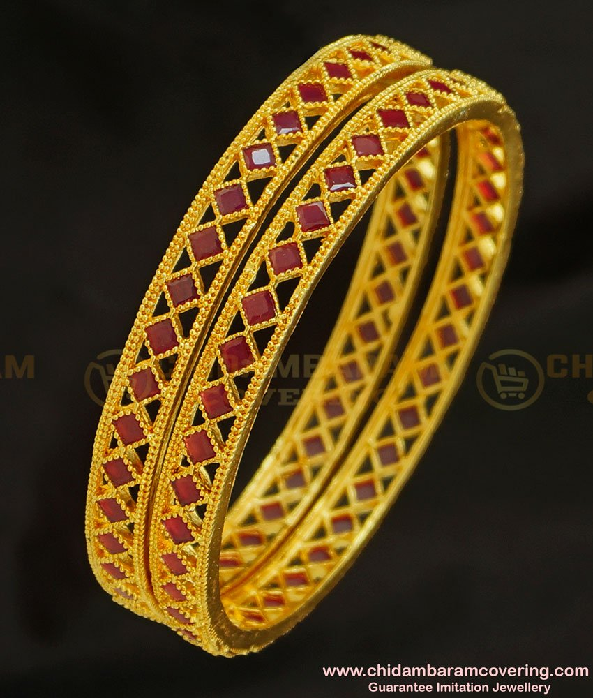 BNG223 - 2.4 Size Latest Gold Ruby Bangle Design Gold Plated Stone Bangles for Women