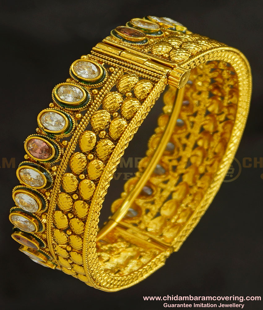 BNG228 - 2.6 Size Latest Gorgeous Gold Antique Look Stone Screw Kada Bangle Buy Online