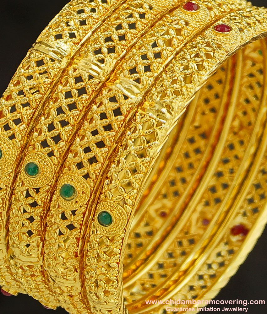 BNG231 - 2.4 Size Bridal Wear Hand Work Red and Green Stone Gold Forming Bangles 4 Pieces Set Best Price Online