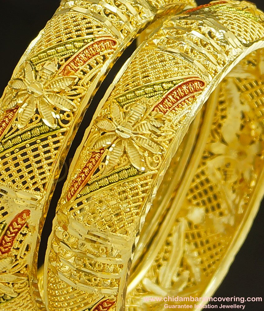 BNG235 - 2.4 Size Gold Forming Floral Design Traditional Calcutta Bangles Set Of 2 Pieces Indian Wedding Bangles Set Online