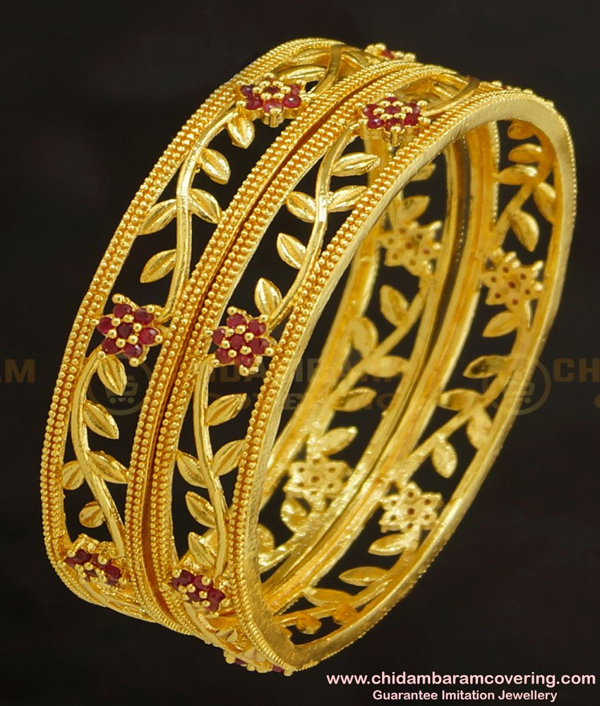 BNG236 - 2.8 Size Elegant Stylish Floral Design Ruby Stone Party Wear Bangles One Gram Gold Plated Jewellery Online