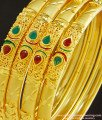 BNG242 - 2.10 Size New One Gram Forming Gold Stone Bangles Design Indian Wedding 4 Bangles Set