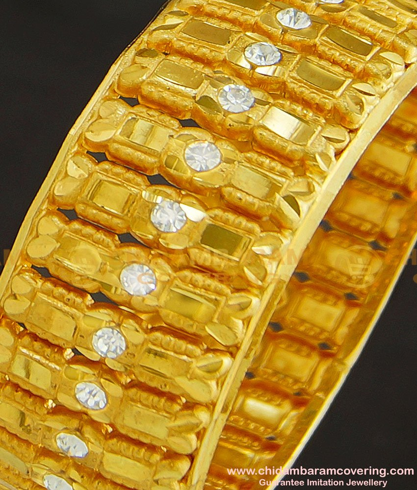 BNG243 -2.4 Size Latest Party Wear Gold Antique Look White Stone Single Kada Bangle