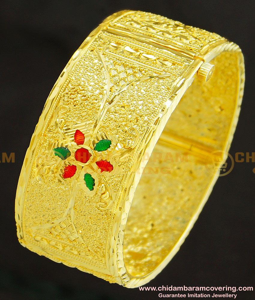 BNG245 -2.6 Size High Quality Enamel Forming Gold Plated Kada Screw Open Single Bangle Online