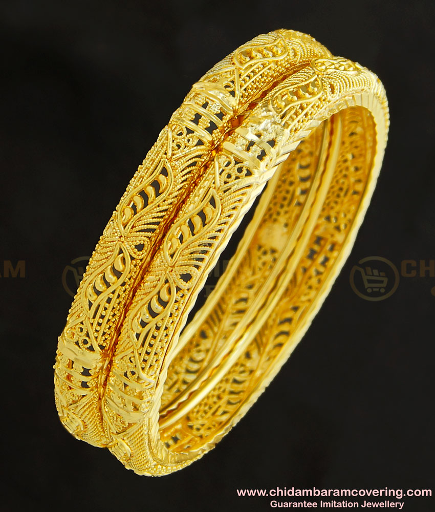 BNG255 - 2.4 Size Bridal Wear Gold Look Bangles Design Gold Plated Jewellery Online