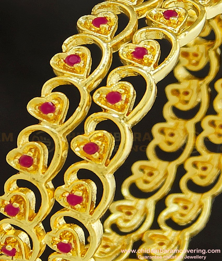 BNG260 - 2.4 Size Latest Gold Plated Broad Ruby Stone Heart Design Bangles for Indian Wedding
