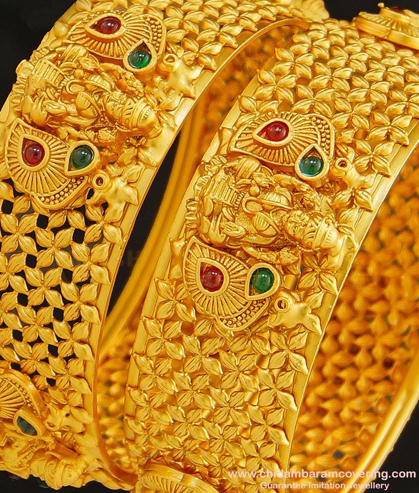 BNG265 -2.6 Size Premium Quality Brass Antique Temple Jewellery Lakshmi Design Broad Bangles Set for Women