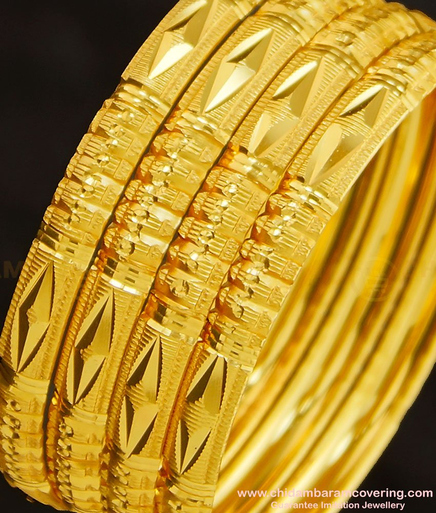 BNG271 - 2.10 Size Indian Gold Imitation Diamond Cut Bangles Design Set Of 4 Pieces for Ladies