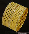 BNG287 - 2.4 Size New Pattern Leaf Model White Stone Party Wear Non Guarantee Broad Bangles Design Online