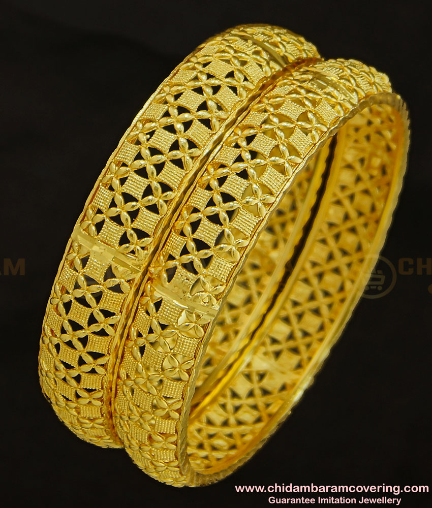 BNG288 - 2.6 Size Indian Bridal Gold Look Designer Broad Bangle Designs Gold Plated Jewellery