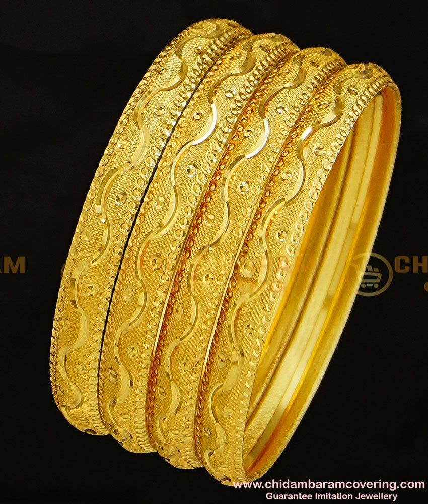 BNG293 - 2.6 Size Traditional 4 Bangles Set Gold Designs Bridal Wear Bangles Set Best Price Buy Online