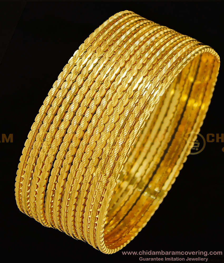BNG298 - 2.8 Size Stunning Gold Fancy Designer 12 Pieces Thin Bangles for Women and Girls