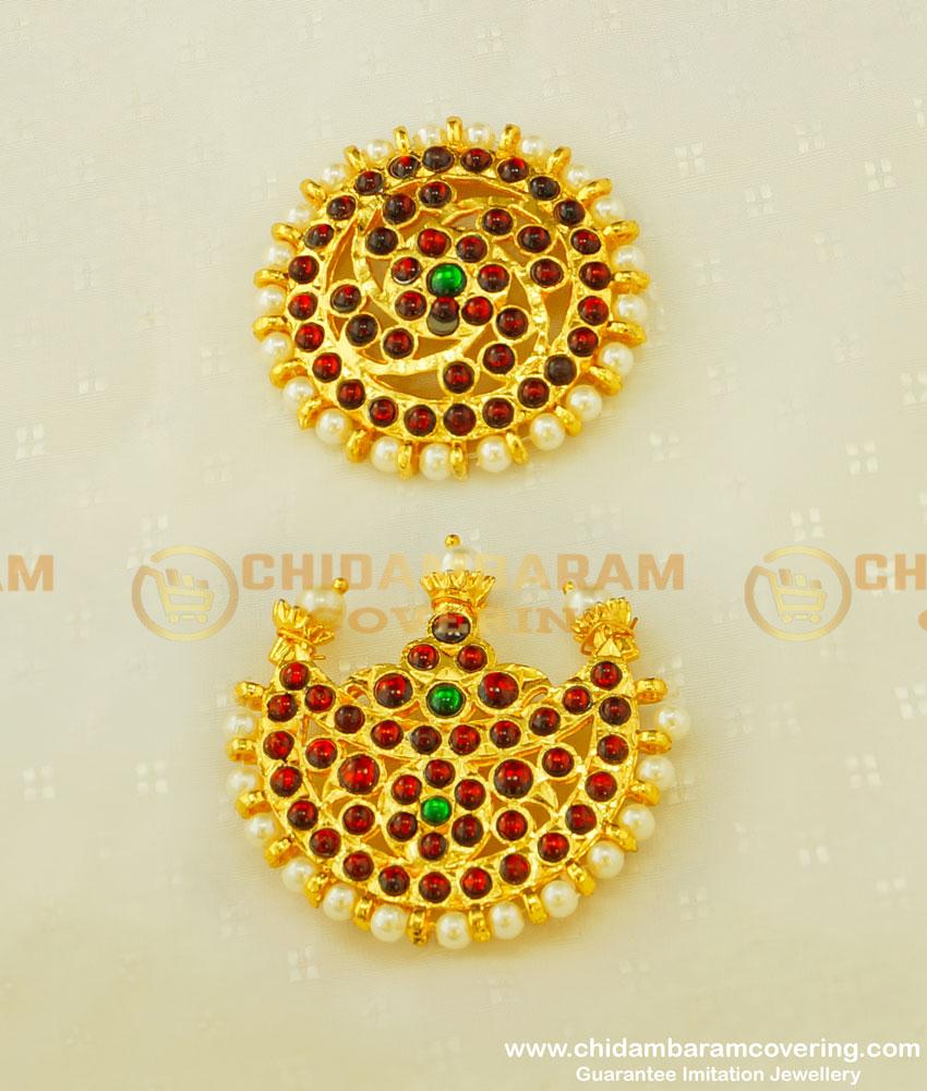 BNS10 - Bharatanatyam Dance Jewellery Kemp Rakudi Muthu Jadai Set Brass Gold Finish Hair Accessory Buy Online