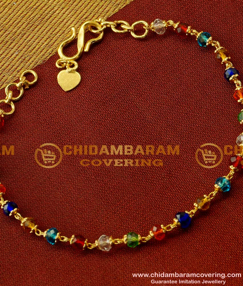 BCT21 - Trendy Gold Plated Popular Teenage Multi Colour Crystal Bracelet Online