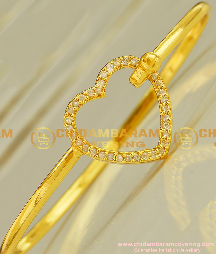 BCT28 - 2.6 Elegant Love Heart Shape White Stone Gold Plated Open Type Bracelet for Girls