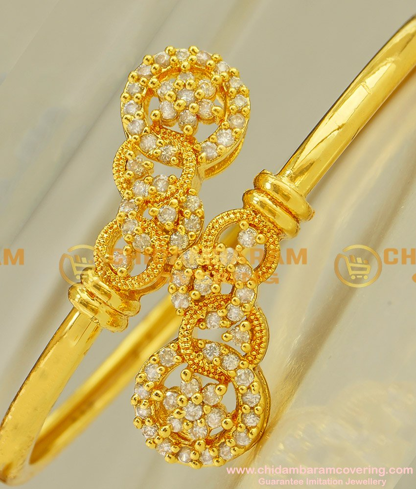 BCT30 - 2-6 Party Wear Zircon Stone Gold Plated Open Type Bracelet Collection Online