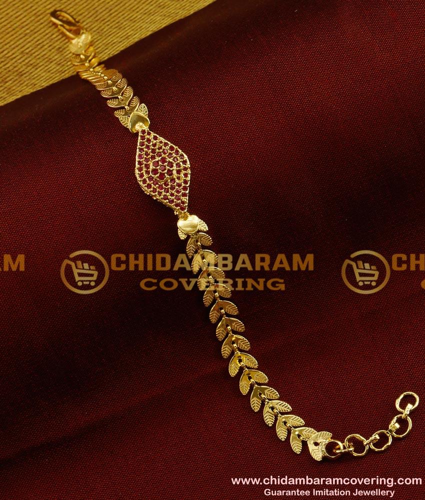 BCT34 - Charming Ruby Stone Leafy Design Bracelet Design for Girls