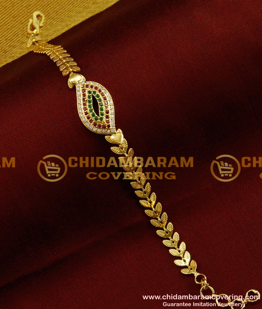 BCT35 - Fashion Elegant Multi Color CZ Stone Leafy Design Bracelet Online