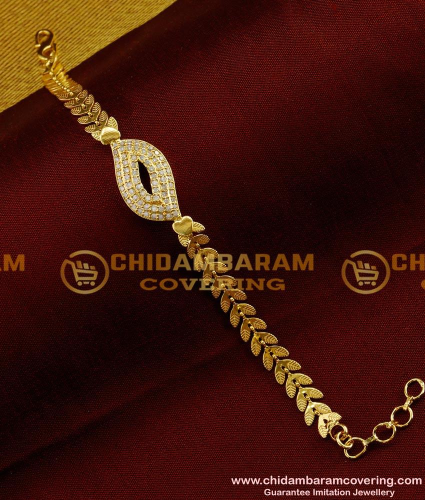 BCT36 - Latest New Design White Stone Yellow Gold Bracelet Buy Online