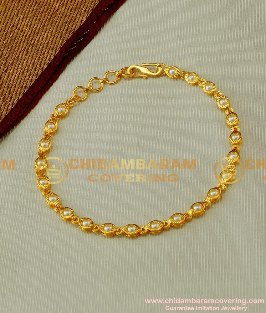 BCT43 - Elegant Pearl Gold Bracelet Designs Gold Covering Bracelet Online Shopping