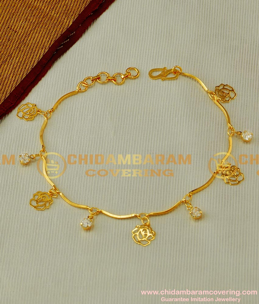 BCT46 - Fashionable Gold Bracelet with Hanging Rose and Stone Design Hand Chain for Ladies