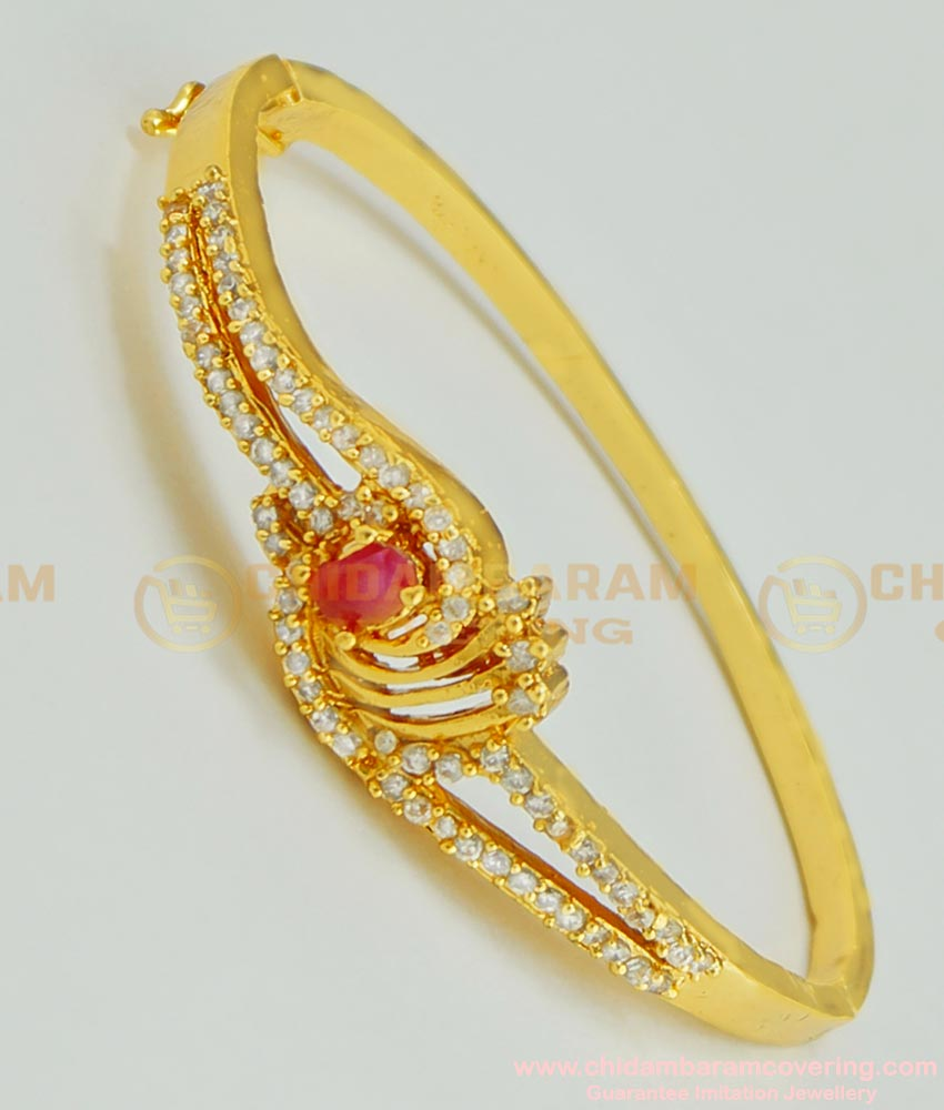 BCT63 - 2.4 size Gold Look Party Wear High Quality CZ Stone Gold Plated Lock Open Type Bracelet Imitation Jewellery
