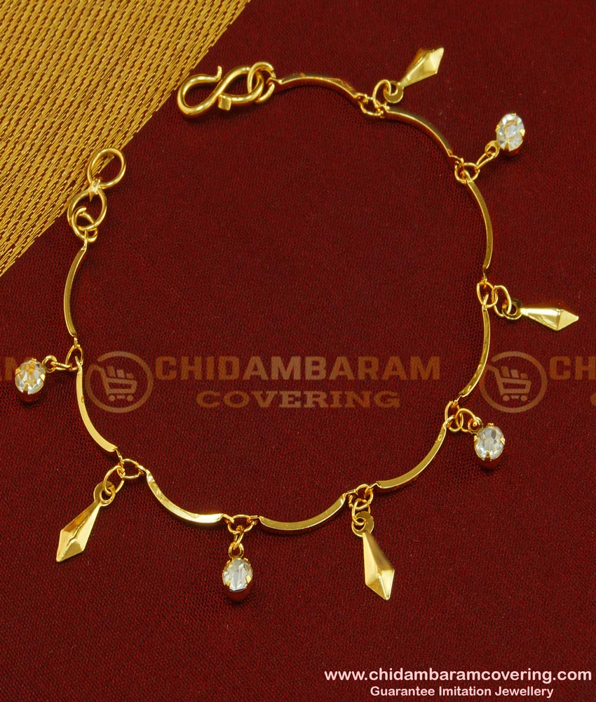 BCT69 - Trendy Gold Plated Ad Stone Hanging Bracelet Design for Teenage Girls