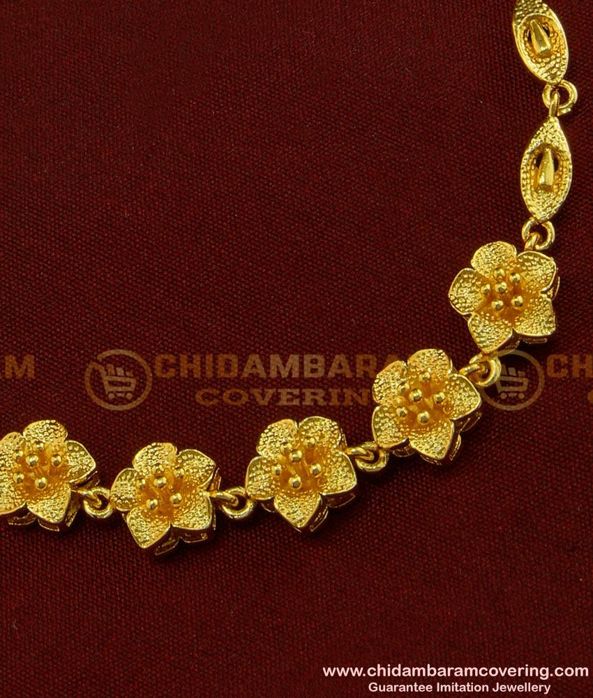 BCT93 - One Gram Gold Modern Stylish Flower Design Bracelet for Teenage Girls