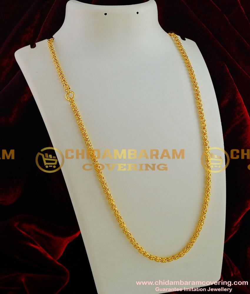 CHN001-LG - 30 Inches Long Gold Plated Dasavatharam Design Flexible Cutting Daily Wear Chain