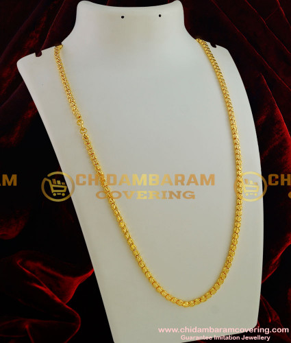 CHN004-LG - 30 inches Gold Plated Jewellery Traditional Box Chain Kumil Design