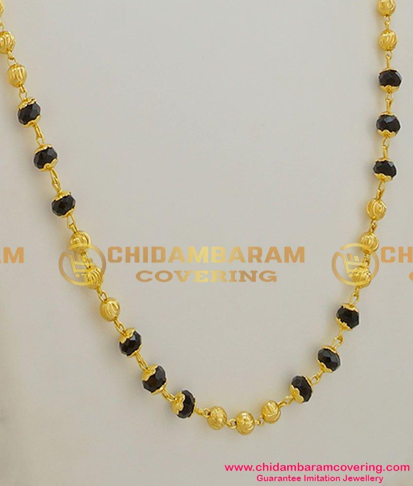CHN008 - Single Line Gold Plated Mangalsutra Chain (Karugamani Chain)