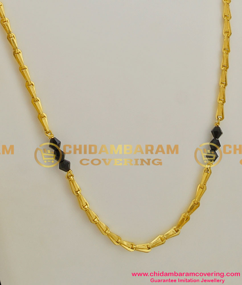 CHN009 - Three Crystal Balls with Wheat Chain Design South Indian Gold Plated Jewellery