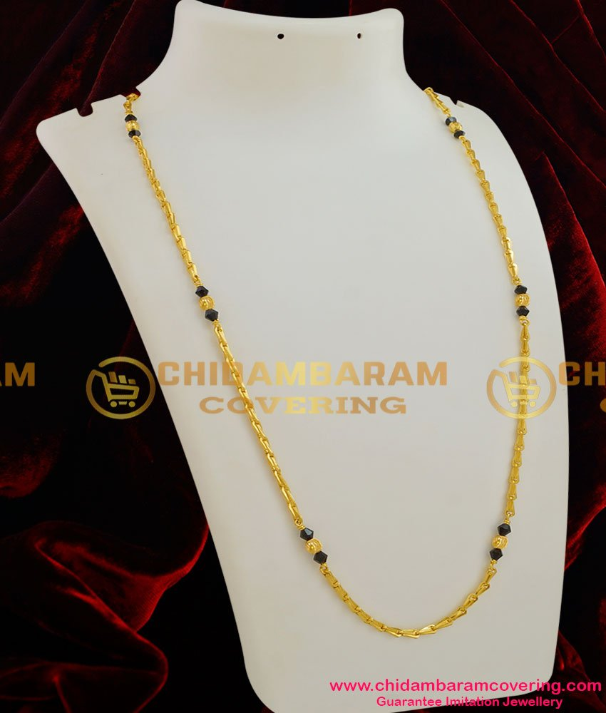 CHN010 - Wheat Chain with Two Crystal Balls combined with Golden Beads Design Jewelery