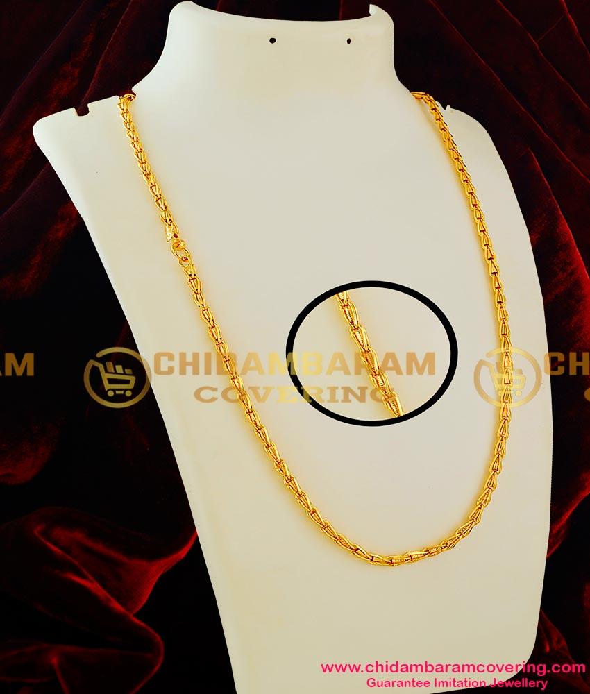 CHN014-LG - 30 inches Long Gold Like Interlocked Spring Design Long Chain Online