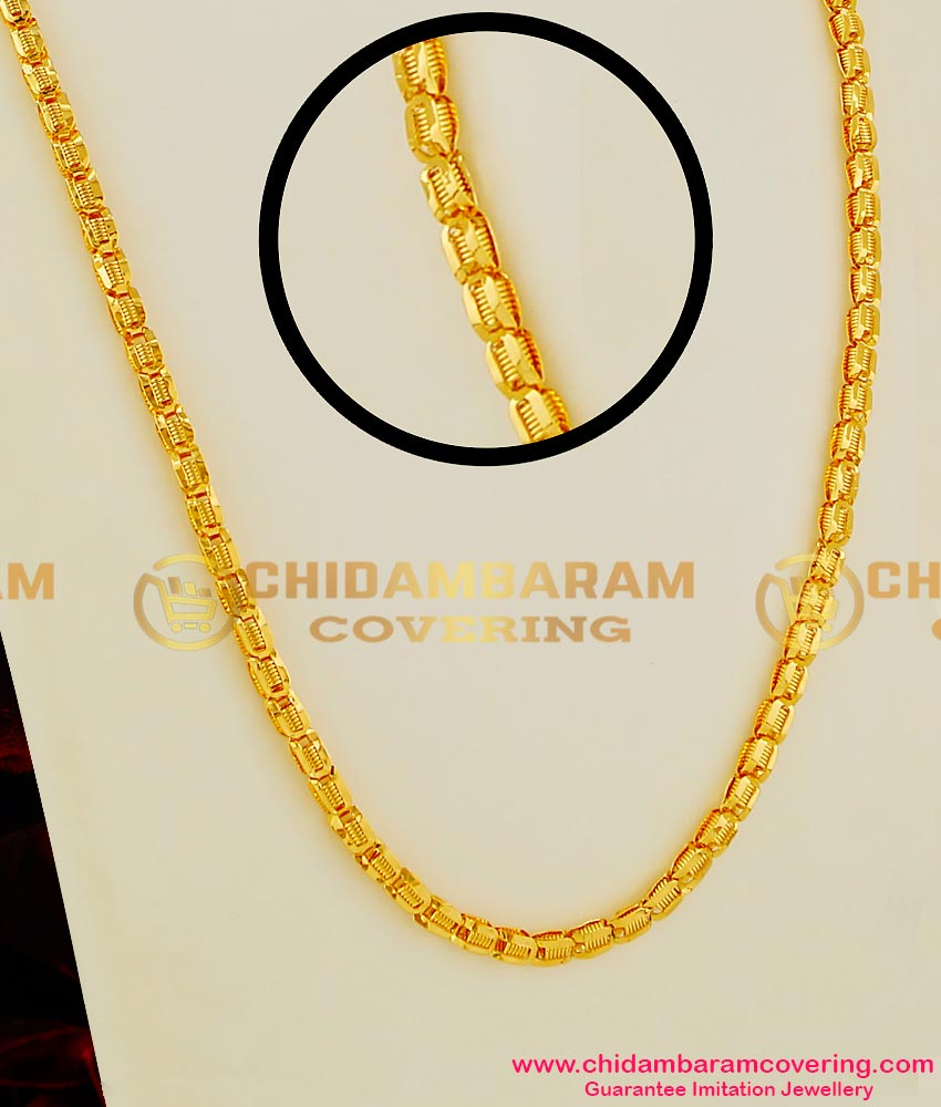 CHN020 – Yellow Gold Plated Kerala Petal Spring Chain Chidambaram Gold Covering Buy Online
