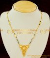 CHN024 - Gold Plated Small Mangalasutra Chain Black Crystal Design with Plain Fancy Dollar