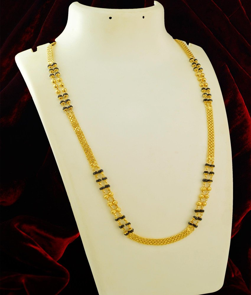 CHN030-XLG - 36 Inches Long One Gram Gold Two Line Karishma Mangalsutra Chain Online Shopping