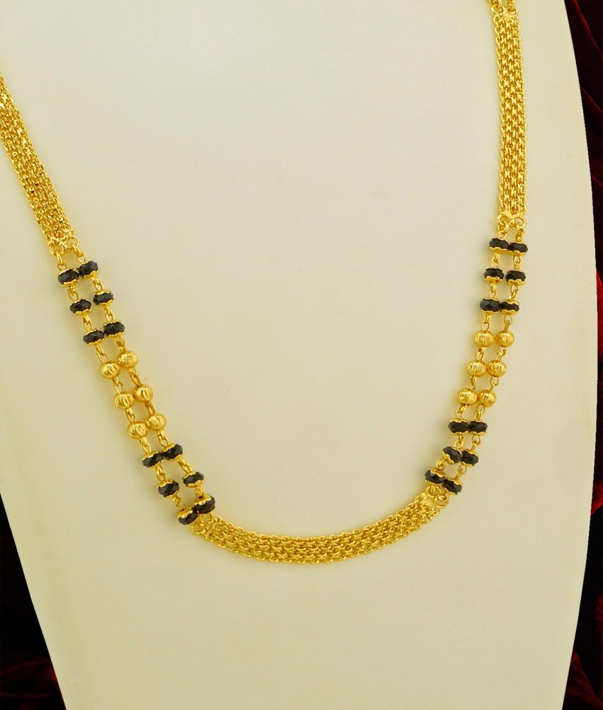 CHN030 - 1 Gram Gold Two Line Karishma Mangalsutra Chain Online Shopping