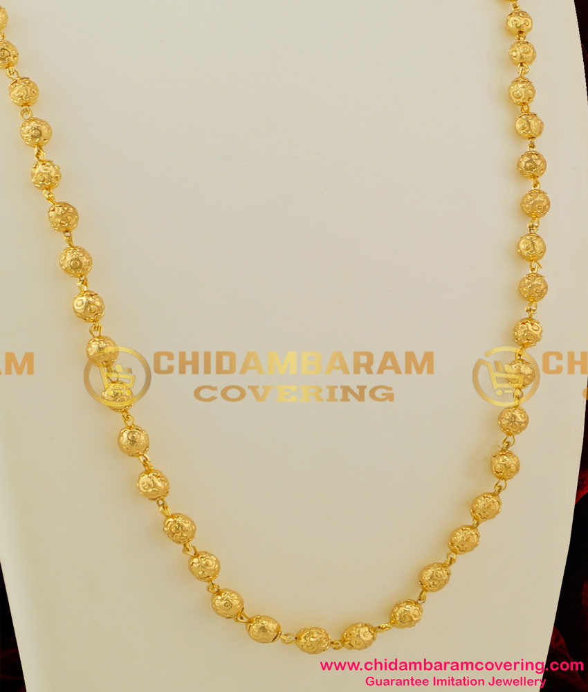 CHN036-LG - 30 Inches Long Gold Plated Gold Beads Chain Design [Milagu Mani] Daily Wear Chain
