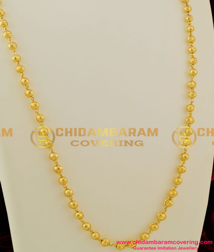 CHN037-LG - 30 Inches Long Gold Balls C - Cutting Gold Plated South Indian Chain Design Online