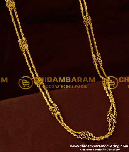 CHN041-LG - 30 inches Long Rettai Vadam Glass Cutting Chain With Flower Design Connector Two Line Chain Online