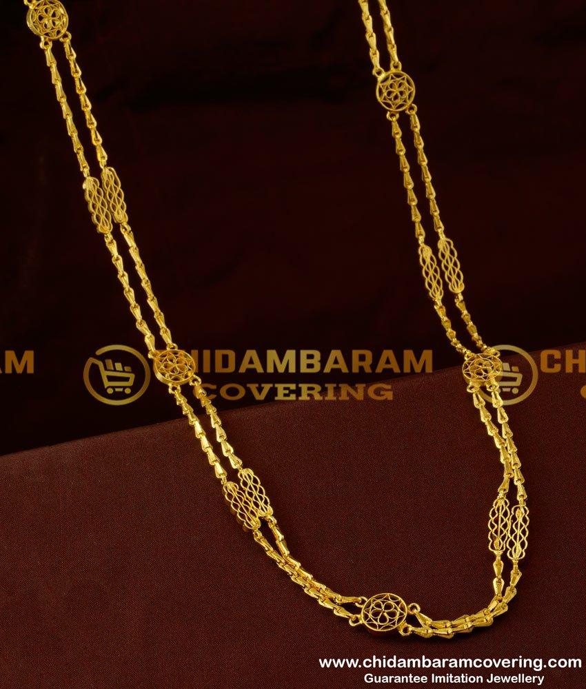 CHN041 - Rettai Vadam Glass Cutting Chain With Flower Design Connector Two Line Chain Online